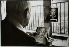 Henri Cartier-Bresson drawing his self-portrait, Paris, France 1992