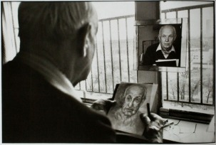 Henri Cartier-Bresson drawing his self-portrait, Paris, France 1992